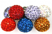 10mm Pave Crystal Beads - 115 Stones- 1 Hole- Half Drilled